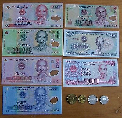 Vietnam Dong set of 7 Notes 4 Coins