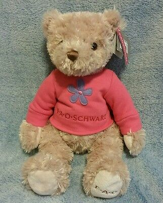"FAO SCHWARZ Plush Girl Teddy Bear Pink Flower Shirt 15"" Soft Fluffy Cuddly"