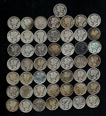"""ROLL OF MERCURY DIMES (50) 90% Silver  """"DAMAGED AND WORN""""  LOT C93"""