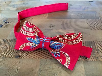 Red Bow Tie & Pocket Square- Handmade Gifts For Him, Wedding Bow Tie, Unique Bow