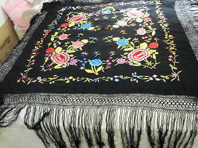 Vintage Embroidered Piano Shawl Chinese Silk Pink Flowers On Black