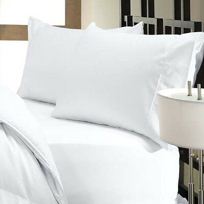 1000 Thread Count Egyptian Cotton 1000 TC PILLOW CASE Set  KING  White Solid