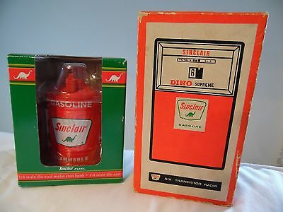 Sinclair Oil Gas Collectibles Oil Can Diecast Bank NIB & 1960's Transistor Radio