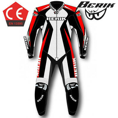 Berik Speed CE Race Motorcycle 1pc Leather Suit Red White Road Bike