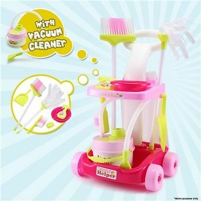 NEW Colourful Kids Fun Pretend Play Toy Cleaning Trolley/Vacuum Cleaner, Ages 3+