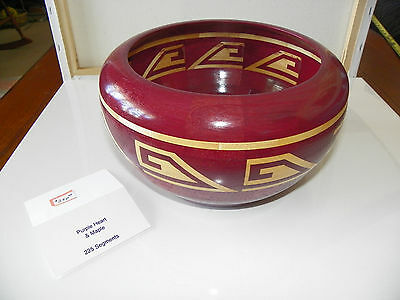 Rare Purple Maple Segmented Handcrafted Wood Bowl 225 Segments Inlay Signed