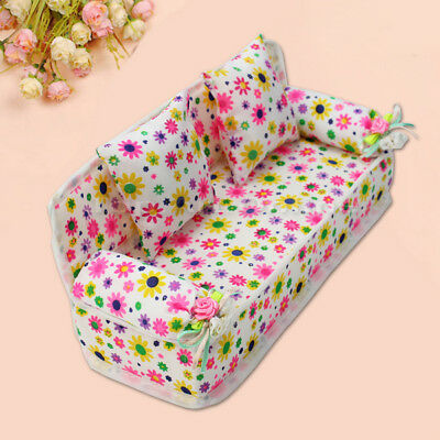 Mini Furniture Sofa Couch +2 Cushions For Barbie Doll House Accessories Girls