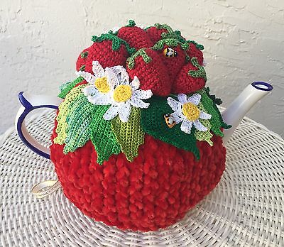 Handmade Tea Cozy Red Strawberry Red Base for 6- 8 cups teapot