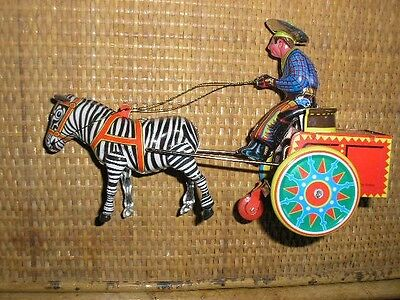 Zebra toy wind-up cowboy & cart based on  german Galop toy Schylling