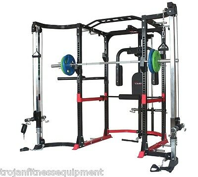 Power Rack Lat Attachment Cable Cross Over Safety Bars Dips + Full Accesories