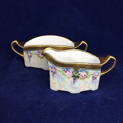 Antique Porcelain Creamer and Sugar Bowl, Handpainted, Edged with Gold Band, Iri
