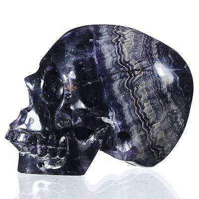 """2.95""""Natural Banded Fluorite Hand Carved Smiling Skull,Collectibles #22U90"""