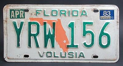 ks Florida 'Volusia' Licence Plate with 1983 Sticker