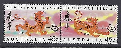 1998 Christmas Island Year Of The Tiger Set Of 2 Fine Mint Mnh/muh