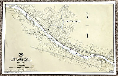 New York Erie Canal Map Amsterdam Mohawk River Original Railroads
