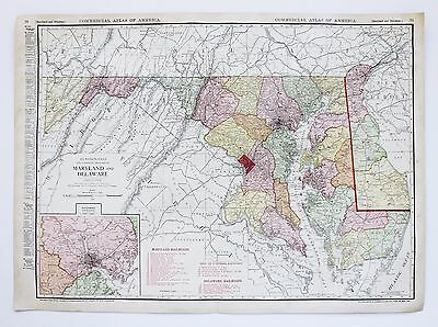 1913 Maryland Delaware Railroad Map Commercial Steamship Routes  Original RARE
