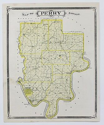 1876 Perry County Indiana Map Tell City Rono Leopold Rome Branchville Original