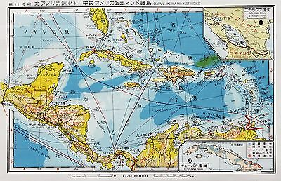 1936 Cuba Map Steamer Route Japanese Text West Indies Florida Original RARE
