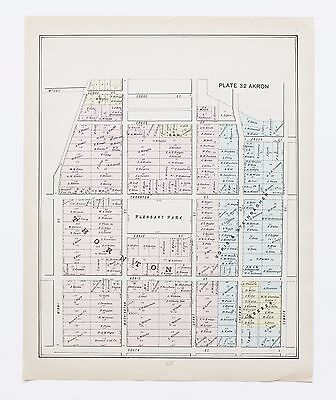 1891 South Akron Ohio Map Pleasant Park Plats 4th Ward Property Owners ORIGINAL