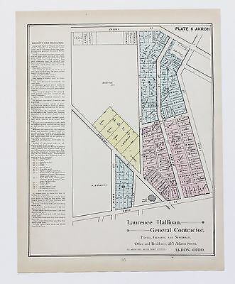 1891 West Akron Ohio Map 3rd Ward Exchnage Street Plats Property Owners ORIGINAL