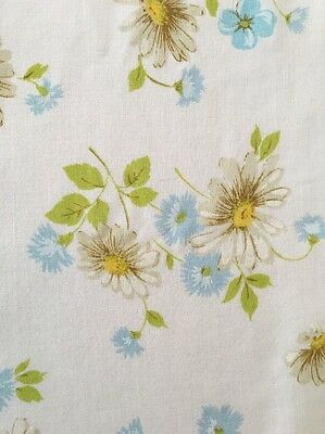 Pequot Vintage Twin Flat Sheet Daisies Blue Flowers EUC Made In USA