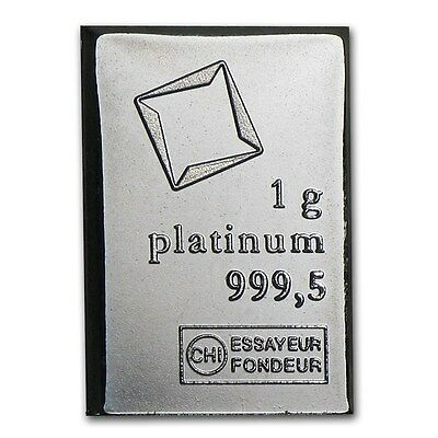 1 Gram Valcambi .9995 Fine Platinum Bullion Bar From New Sheet Of 50