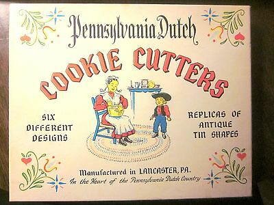 Vintage Pennsylvania Dutch Tin Cookie Cutters (6 designs) + 3 Piece Rosette Set
