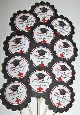 Nurse Graduation Cupcake Toppers/Party Picks  Item #774  Graduate