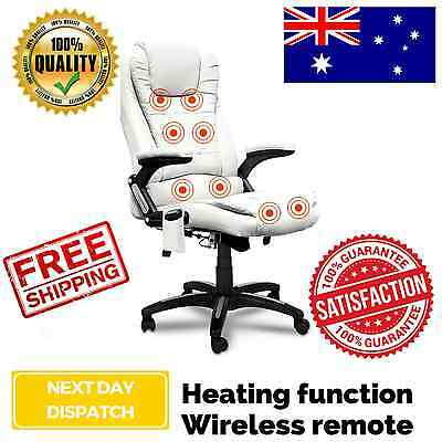 8 Point Massage Executive PU Leather Office Computer Chair White