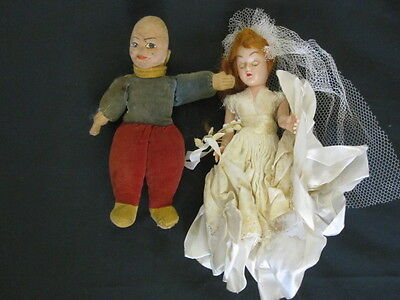 OLD NORAH WELLINGS DOLL ETHIC AND A BRIDE DOLL 1950's