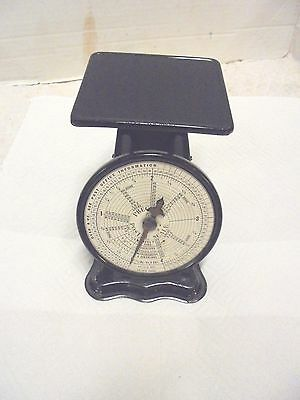 """small vintage precision postal scale 4 pound capacity industrial  5-3/4"""" tall"""
