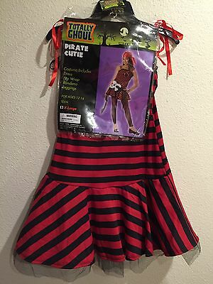 NWT ~ Teens Size XL PIRATE CUTIE Red Black Striped Dress With Assessories