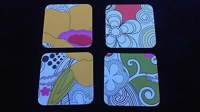 Vintage Colorful Set Of 4 Coasters 1980's