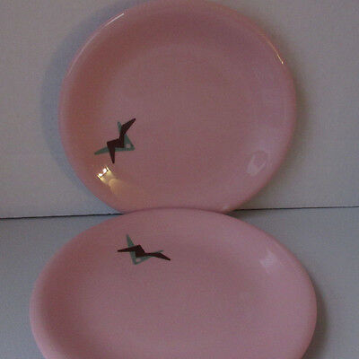 "2 Sterling China Russel Wright 7.5"" Shell Pink Decorated Plates Restaurant Ware"