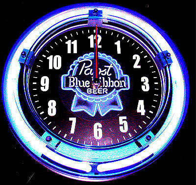 "Pbr - Pabst Blue Ribbon Logo 11"" Blue Neon Clock - New !!"