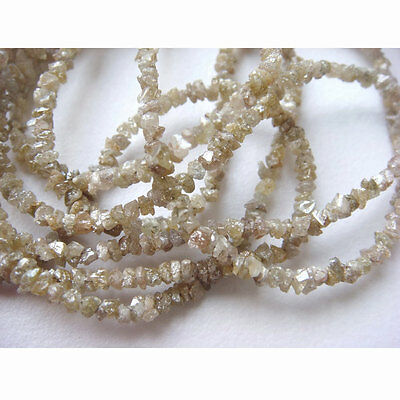 """Rough Champagne Brown Natural Raw Uncut Diamond Beads 3mm-2mm 8"""" Strand GK22"""
