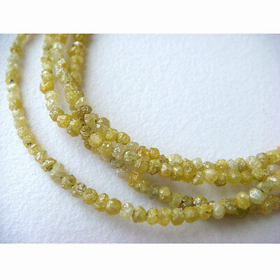 """Yellow Raw Conflict Free Rough Loose Diamonds Natural Rondelle 1.5-3mm 4"""" GK3"""