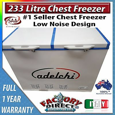 NEW 233 Litre Commercial Grade Chest Freezer with Key Lock and 2 Basket Storage