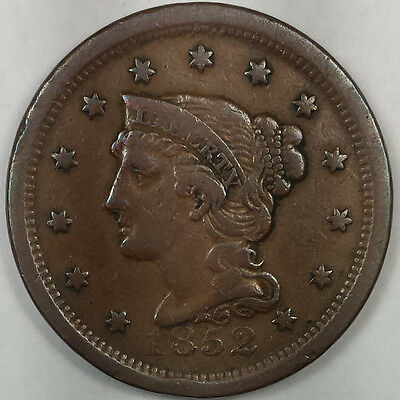 1852 Braided Hair Liberty Head Large Cent - Nice Copper Coin