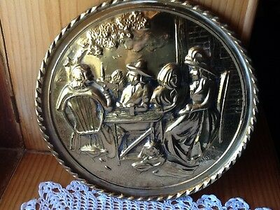 VINTAGE  BRASS coated PLAQUE.  Made in England.