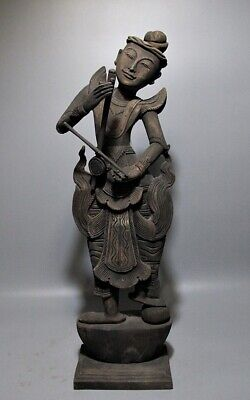 Antique Carved Teak Wood Sculpture Native Dress Burmese Man Playing Music Figure