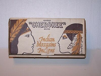 Vintage empty Chef Cherokee Chief Indian Moccasin box made in Canada H Barbeau