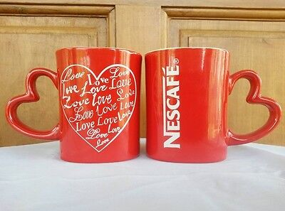 Set of 2 New Rare Nescafe Red Cup Mug Coffee Tea Valentines Day Limited Edition