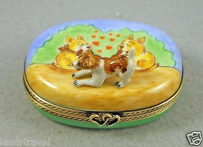 New French Limoges Box Jack Russell Terrier On Box With Cute Dog Puppies In Love