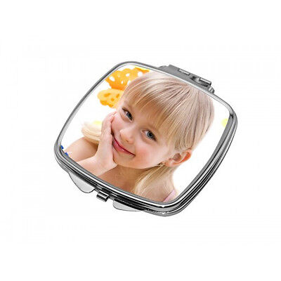 PERSONALISED CURVED SQUARE COMPACT MIRROR valentines day gift present