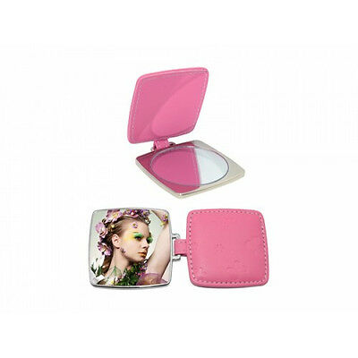 Personalized Square Hand Mirror With Leather Case Valentines Day Gift