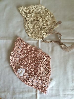 Vintage 20s Baby's Bonnets Hand Made Unused Pristine Set Of Two Art Deco Style