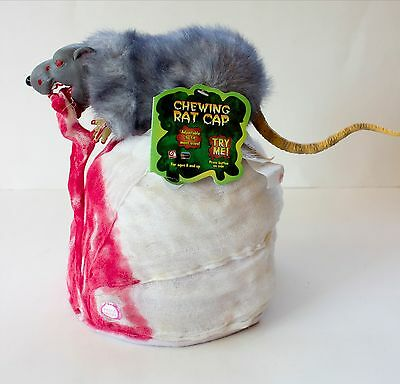 NWT GEMMY Halloween Hat RAT EATING HEAD Horror ANIMATED Bandage Wrap BLOOD