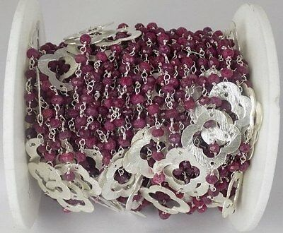 10 Feet Dyed Ruby Gemstone Faceted Rosary Beaded Chain 925 Silver Plated.