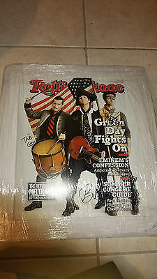 GREEN DAY BILLIE JOE TRE COOL DIRNT SIGNED MATTED 22x19 ROLLING STONE POSTER